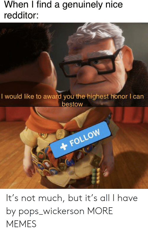 Redditor: When I find a genuinely nice  redditor:  I would like to award you the highest honor I can  bestow  FOLLOW It's not much, but it's all I have by pops_wickerson MORE MEMES