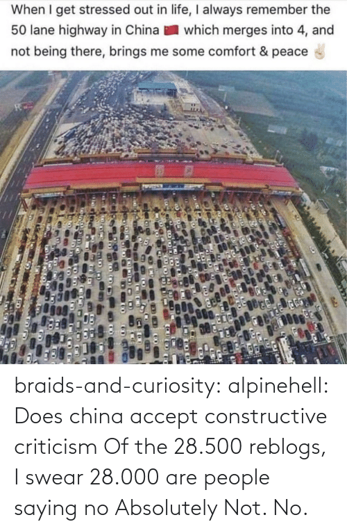 China: When I get stressed out in life, I always remember the  50 lane highway in China  which merges into 4, and  not being there, brings me some comfort & peace braids-and-curiosity: alpinehell: Does china accept constructive criticism  Of the 28.500 reblogs, I swear 28.000 are people saying no    Absolutely Not. No.