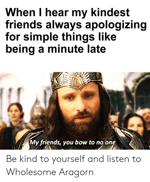 Bow To: When I hear my kindest  friends always apologizing  for simple things like  being a minute late  My friends, you bow to no one Be kind to yourself and listen to Wholesome Aragorn