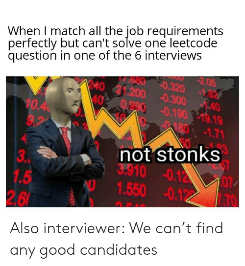 Good, Match, and All The: When I match all the job requirements  perfectly but can't solve one leetcode  question in one of the 6 interviews  2.05  20.320 -82  AAO  1240 21:200 0.300 40  40 0.890 0.19019.19  10.40  9.23  1871.71  53  not stonks  3.910 -0.12  07  3P  1.5  2.6  1.550 -0.12 Also interviewer: We can't find any good candidates