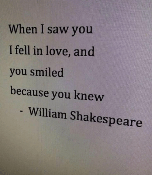 Love, Saw, and Shakespeare: When I saw you  I fell in love, and  you smiled  because you knew  - William Shakespeare