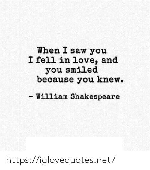 Love, Saw, and Shakespeare: When I saw you  I fell in love, and  you smiled  because you knew.  - William Shakespeare https://iglovequotes.net/