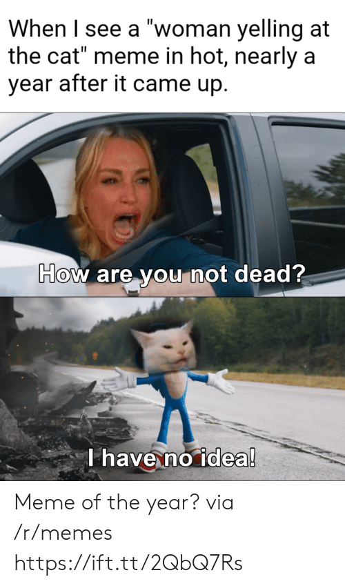 "Meme, Memes, and How: When I see a ""woman yelling at  the cat"" meme in hot, nearly a  year after it came up.  How are you not dead?  T have no idea! Meme of the year? via /r/memes https://ift.tt/2QbQ7Rs"