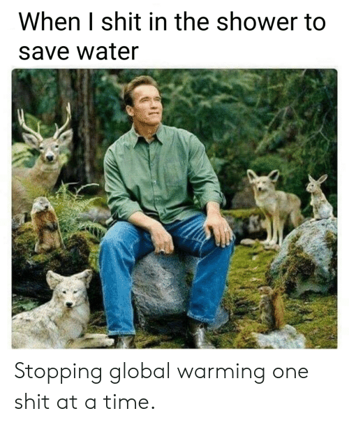 I Shit: When I shit in the shower to  save water Stopping global warming one shit at a time.