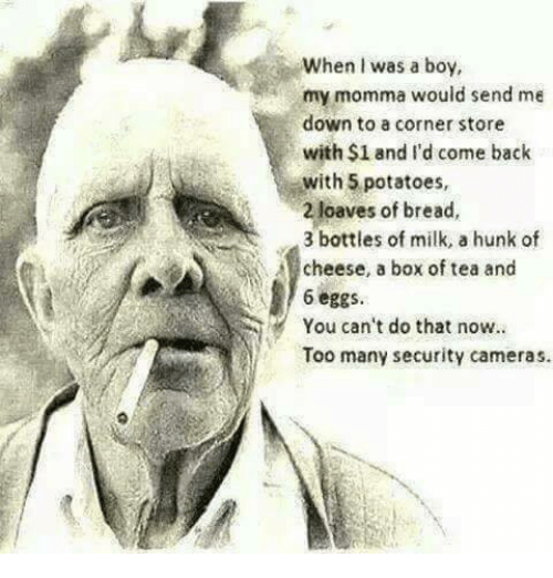 You Cant Do That: When I was a boy,  my momma would send me  down to a corner store  with $1 and I'd come back  with 5 potatoes,  2 loaves of bread,  3 bottles of milk, a hunk of  cheese, a box of tea and  6 eggs  You can't do that now.  Too many security cameras.