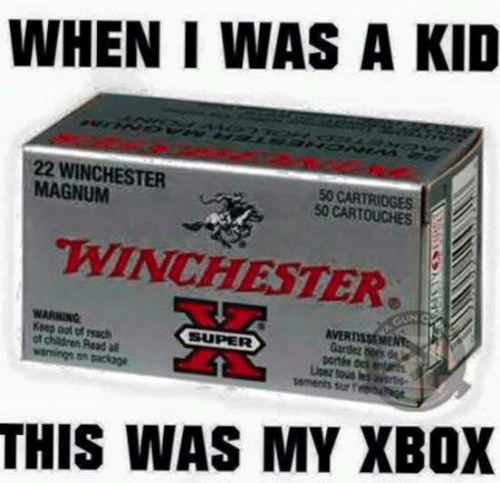 magnum: WHEN I WAS A KID  22 WINCHESTER  MAGNUM  50 CARTRIDGES  50 CARTOUCHES  WINCHESTER  WARNING  Ksep oot of reach  of children Read  Gardez hors de  portte dek entar  sar f  THIS WAS MY XBOX