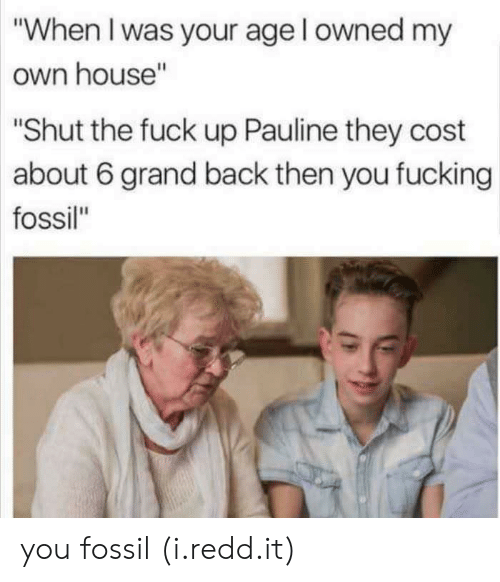 "When I Was Your Age: ""When I was your age l owned my  own house""  ""Shut the fuck up Pauline they cost  about 6 grand back then you fucking  fossil"" you fossil (i.redd.it)"