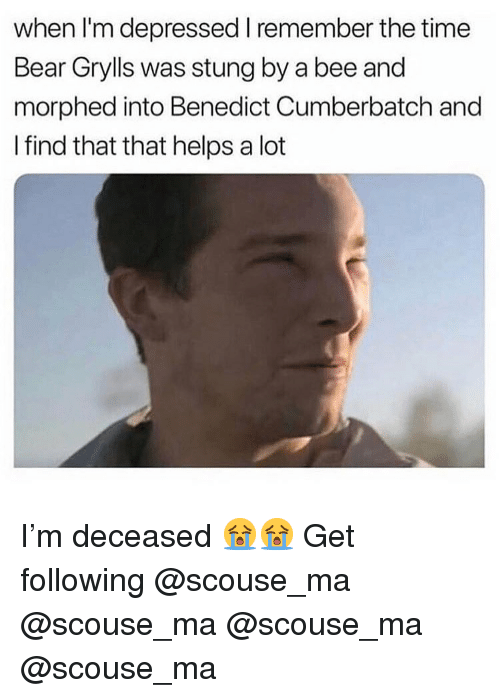 Bear Grylls: when I'm depressed I remember the time  Bear Grylls was stung by a bee and  morphed into Benedict Cumberbatch and  I find that that helps a lot I'm deceased 😭😭 Get following @scouse_ma @scouse_ma @scouse_ma @scouse_ma