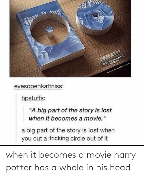 Harry Potter: when it becomes a movie harry potter has a whole in his head