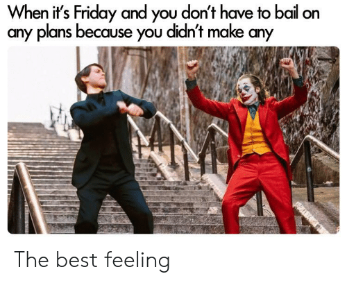 Friday, It's Friday, and Reddit: When it's Friday and you don't have to bail on  any plans because you didn't make any The best feeling