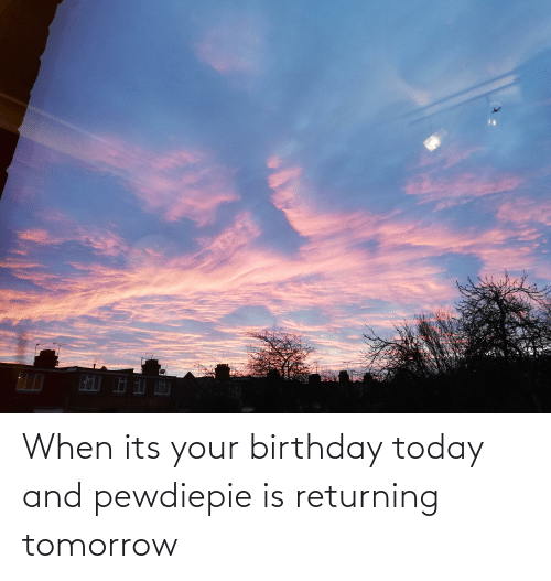its your birthday: When its your birthday today and pewdiepie is returning tomorrow
