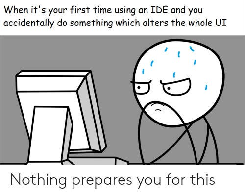 ide: When it's your first time using  accidentally do something which alters the whole UI  an IDE and you Nothing prepares you for this