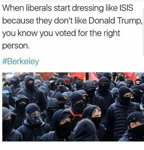 Donald Trump You: When liberals start dressing like ISIS  because they don't like Donald Trump,  you know you voted for the right  person.