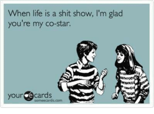Dank, Life, and Someecards: When life is a shit show, I'm glaod  you're my co-star.  your e cards  someecards.com