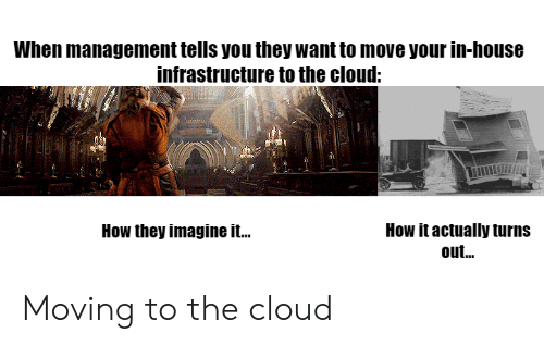 the cloud: When management tells you they want to move your in-house  infrastructure to the cloud:  How it actually turns  out...  How they imagine it.. Moving to the cloud