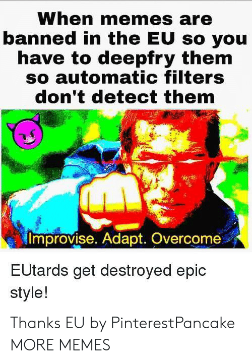 Dank, Memes, and Target: When memes are  banned in the EU so you  have to deepfry them  so automatic filters  don't detect them  Improvise. Adapt. Overcome  EUtards get destroyed epic  style! Thanks EU by PinterestPancake MORE MEMES