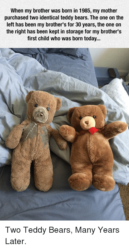 Many Years Later: When my brother was born in 1985, my mother  purchased two identical teddy bears. The one on the  left has been my brother's for 30 years, the one on  the right has been kept in storage for my brother's  first child who was born today... <p>Two Teddy Bears, Many Years Later.</p>