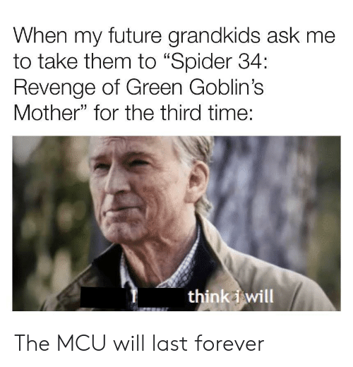"My Future: When my future grandkids ask me  to take them to ""Spider 34:  Revenge of Green Goblin's  Mother"" for the third time:  think i will The MCU will last forever"