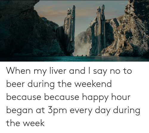 Beer: When my liver and I say no to beer during the weekend because because happy hour began at 3pm every day during the week