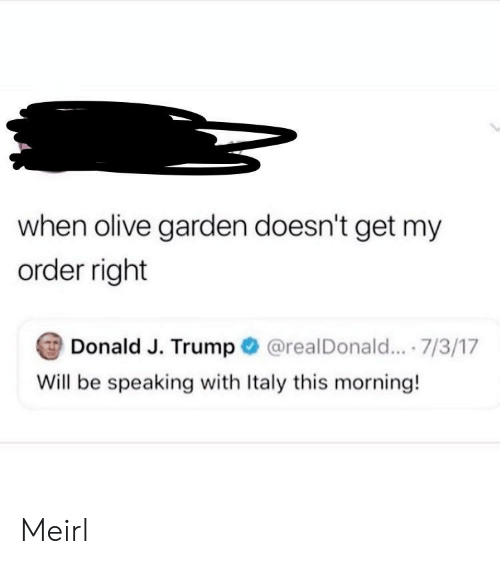 Olive: when olive garden doesn't get my  order right  Donald J. Trump  @realDonald... .7/3/17  Will be speaking with Italy this morning! Meirl