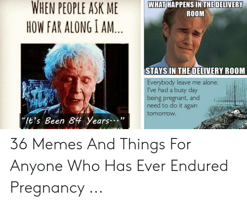 """Funny Pregnancy Memes: WHEN PEOPLE ASK  WHAT HAPPENS IN THE DELIVERY  ROOM  HOW FAR ALONG I AM  STAYS IN THE OELIVERY ROOM  LI  Everybody leave me alone.  l've had a busy day  being pregnant, and  need to do it again  tomorrow  """"It's Been 84 Years. 36 Memes And Things For Anyone Who Has Ever Endured Pregnancy ..."""