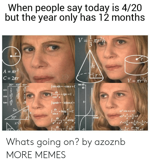 Dank, Memes, and Target: When people say today is 4/20  but the year only has 12 months  tan (6)  10  30° 45 60  sinxdx=-cos x + C  cos x  2  tan  3  2x6  sin罢  30°  erad  arctg i  2 Whats going on? by azoznb MORE MEMES
