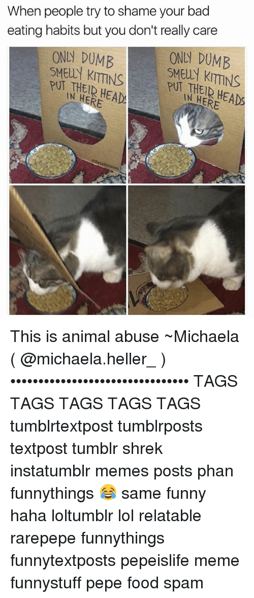 Animal Abuse: When people try to shame your bad  eating habits but you don't really care  ONUN DUMB  ONN DUMB  SMElly KITTINS  PUT THEIR HEADS  HERE  SMEUN KITTINS  PUT IN HEAD!  HERE  aBetssalmon This is animal abuse ~Michaela ( @michaela.heller_ )•••••••••••••••••••••••••••••••• TAGS TAGS TAGS TAGS TAGS tumblrtextpost tumblrposts textpost tumblr shrek instatumblr memes posts phan funnythings 😂 same funny haha loltumblr lol relatable rarepepe funnythings funnytextposts pepeislife meme funnystuff pepe food spam