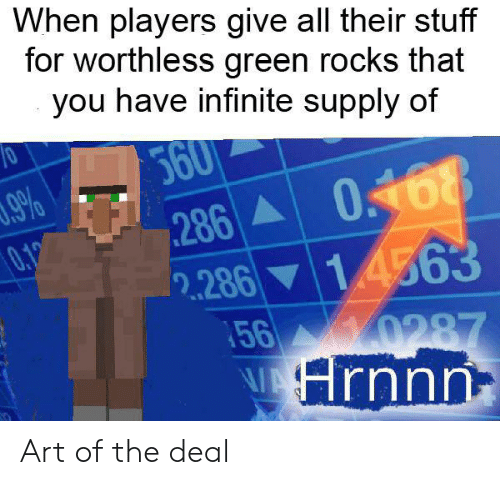 Reddit, Stuff, and Art: When players give all their stuff  for worthless green rocks that  you have infinite supply of  360  9%  286 068  0,19  2.28614563  56 0287  Hrnnn Art of the deal