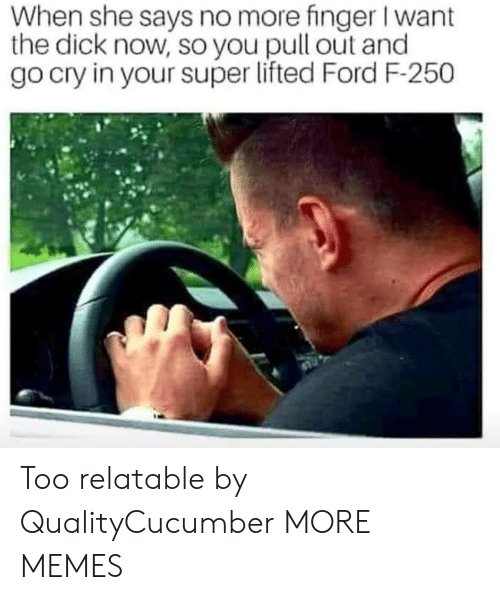 Dank, Memes, and Target: When she says no more finger I want  the dick now, so you pull out and  go cry in your super lifted Ford F-250 Too relatable by QualityCucumber MORE MEMES