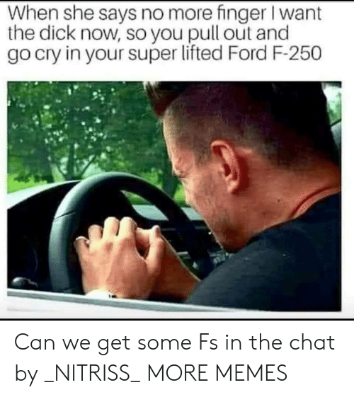 Dank, Memes, and Target: When she says no more finger I want  the dick now, so you pull out and  go cry in your super lifted Ford F-250 Can we get some Fs in the chat by _NITRISS_ MORE MEMES