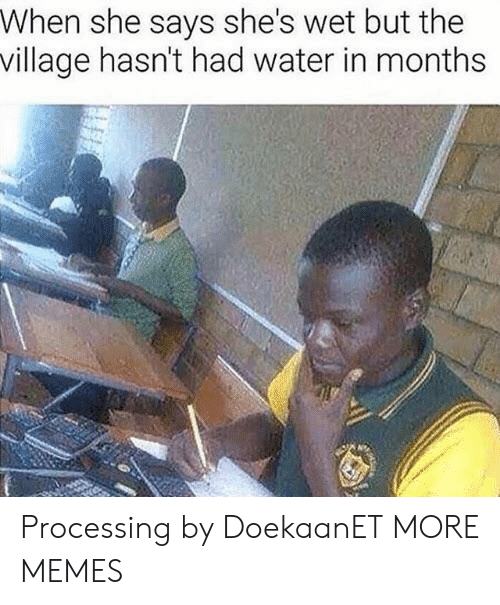 Dank, Memes, and Target: When she says she's wet but the  village hasn't had water in months Processing by DoekaanET MORE MEMES
