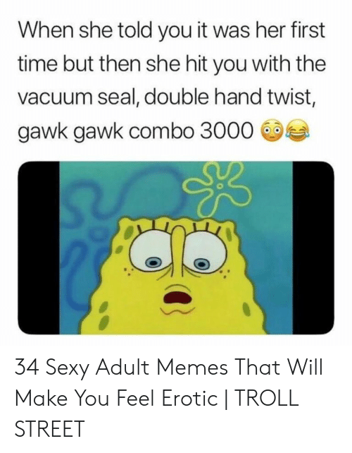 Hilarious Sex Memes: When she told you it was her first  time but then she hit you with the  vacuum seal, double hand twist,  gawk gawk combo 3000 34 Sexy Adult Memes That Will Make You Feel Erotic   TROLL STREET