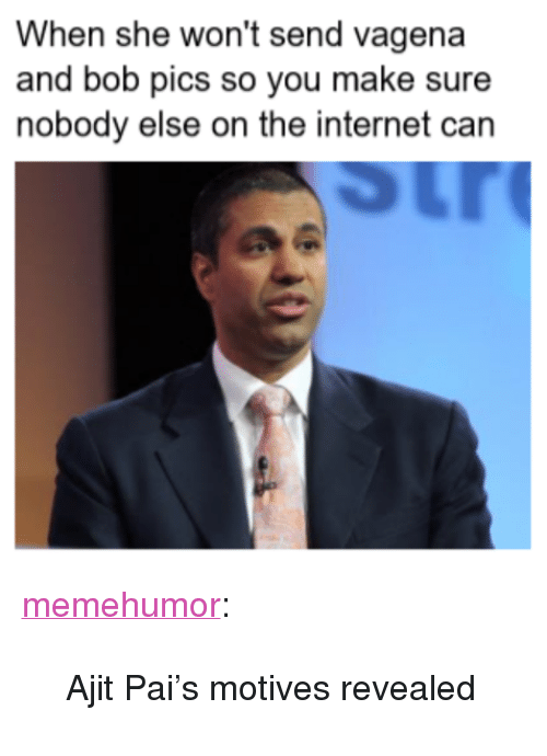 "Internet, Tumblr, and Blog: When she won't send vagena  and bob pics so you make sure  nobody else on the internet can <p><a href=""http://memehumor.net/post/167830739065/ajit-pais-motives-revealed"" class=""tumblr_blog"">memehumor</a>:</p>  <blockquote><p>Ajit Pai's motives revealed</p></blockquote>"