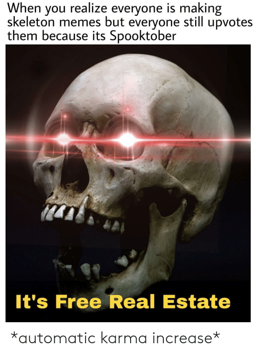 Skeleton Memes: When  skeleton memes but  realize everyone is making  upvotes  you  still  everyone  them because its Spooktober  It's Free Real Estate *automatic karma increase*