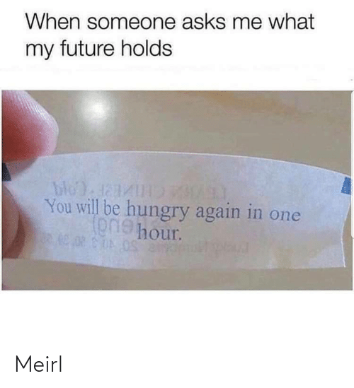 My Future: When someone asks me what  my future holds  bloda1  You will be hungry again in one  onehour. Meirl