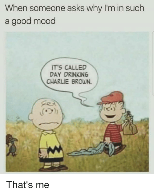 browning: When someone asks why I'm in such  a good mood  ITS CALLED  DAY DRINKING  CHARLIE BROWN. That's me