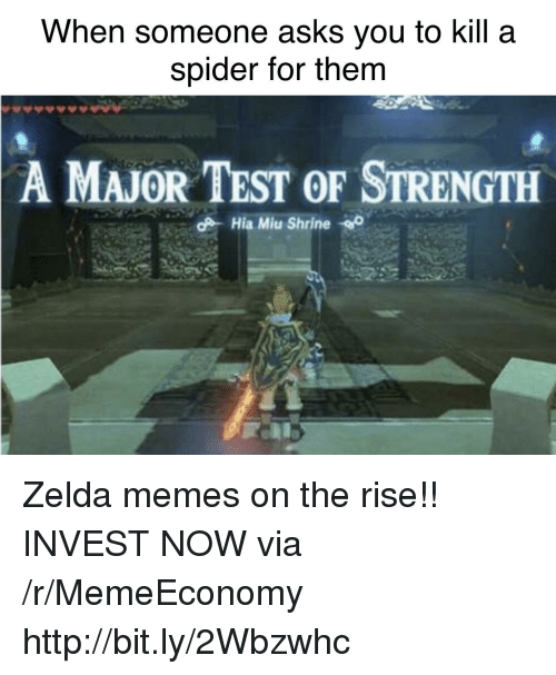 Zelda Memes: When someone asks you to kill a  spider for them  A  MAJOR TEST OF STRENGTH Zelda memes on the rise!! INVEST NOW via /r/MemeEconomy http://bit.ly/2Wbzwhc