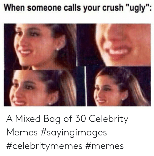 "Mixed: When someone calls your crush ""ugly"" A Mixed Bag of 30 Celebrity Memes #sayingimages #celebritymemes #memes"