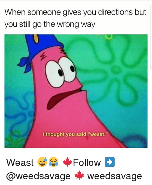 "Memes, Thought, and 🤖: When someone gives you directions but  you still go the wrong way  I thought you said ""weast."" Weast 😅😂 🍁Follow ➡ @weedsavage 🍁 weedsavage"