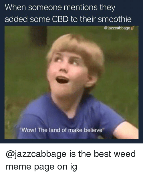 "weed meme: When someone mentions they  added some CBD to their smoothie  @jazzcabbage s  ""Wow! The land of make believe @jazzcabbage is the best weed meme page on ig"