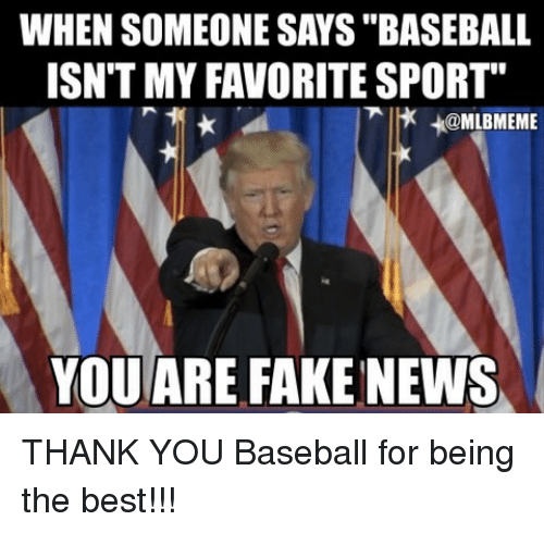 "baseballs: WHEN SOMEONE SAYS ""BASEBALL  ISN'T MY FAVORITE SPORT""  x +@MLBMEME  YOU ARE FAKE NEWS THANK YOU Baseball for being the best!!!"