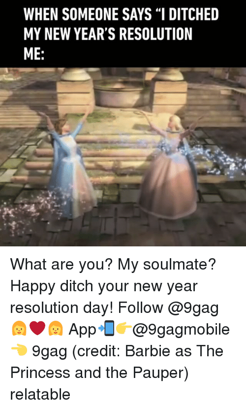 """New Year Resolution: WHEN SOMEONE SAYS """"I DITCHED  MY NEW YEAR'S RESOLUTION  ME What are you? My soulmate? Happy ditch your new year resolution day! Follow @9gag 👩❤👩 App📲👉@9gagmobile 👈 9gag (credit: Barbie as The Princess and the Pauper) relatable"""