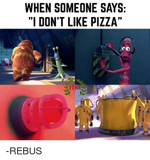 """mco: WHEN SOMEONE SAYS  """"I DON'T LIKE PIZZA""""  MCO -REBUS"""