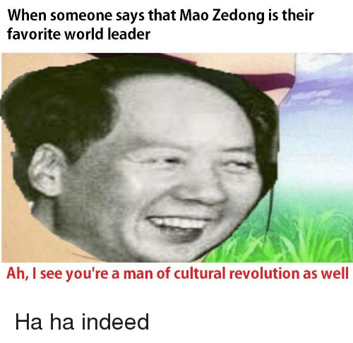 History, Indeed, and Revolution: When someone says that Mao Zedong is their  favorite world leader  Ah, I see you're a man of cultural revolution as well