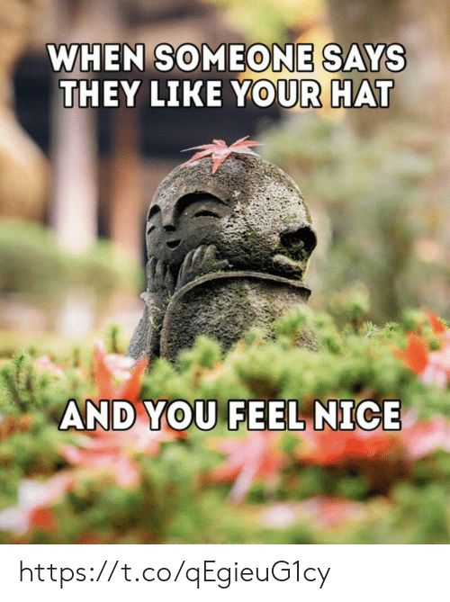 hat: WHEN SOMEONE SAYS  THEY LIKE YOUR HAT  AND YOU FEEL NICE https://t.co/qEgieuG1cy