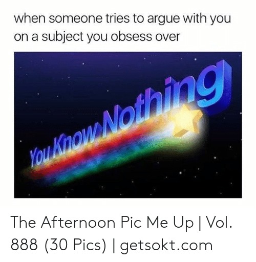Arguing, Com, and Pics: when someone tries to argue with you  on a subject you obsess over The Afternoon Pic Me Up | Vol. 888 (30 Pics) | getsokt.com