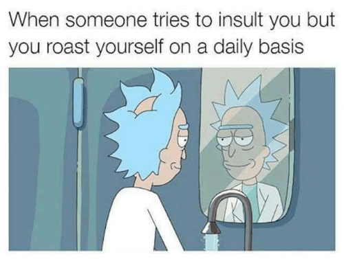 daily basis: When someone tries to insult you but  you roast yourself on a daily basis