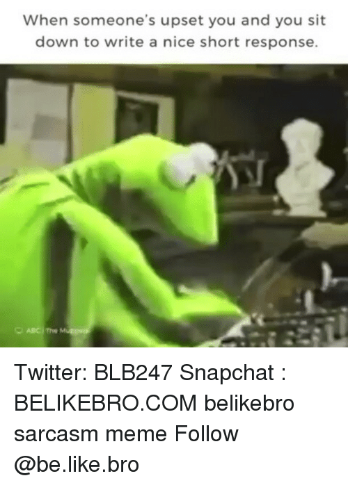Upsetted: When someone's upset you and you sit  down to write a nice short response. Twitter: BLB247 Snapchat : BELIKEBRO.COM belikebro sarcasm meme Follow @be.like.bro