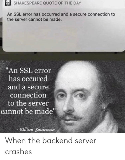 server: When the backend server crashes