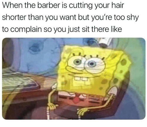 the barber: When the barber is cutting your hair  shorter than you want but you're too shy  to complain so you just sit there like
